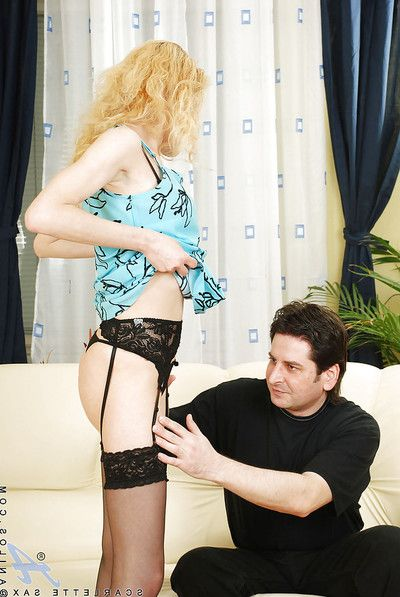 Scarlette Sax, MILF in black stockings fucks with horny congenial stag.