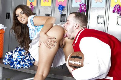 Appealing cheerleader Jynx Maze got her ready latin booty team-banged hardcore