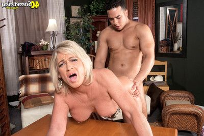 Deepthroat and an butt fuck for golden-haired mature