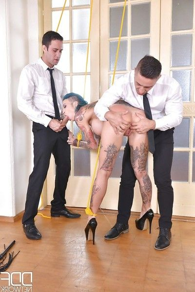 Tattooed European MILF Calisi Ink taking DP after suspension subjection