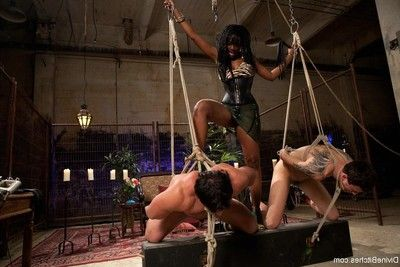 African goddess gains her black ass worshiped by 2 white slaveboys