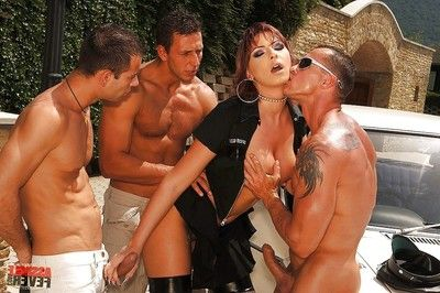 Hawt lady cop Gabriella May gangbanged by three horny champs outdoor