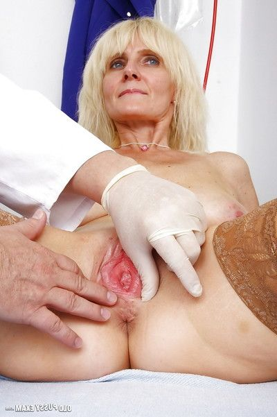 Older blonde Mia and her saggy granny tits undergo kinky doctor exam