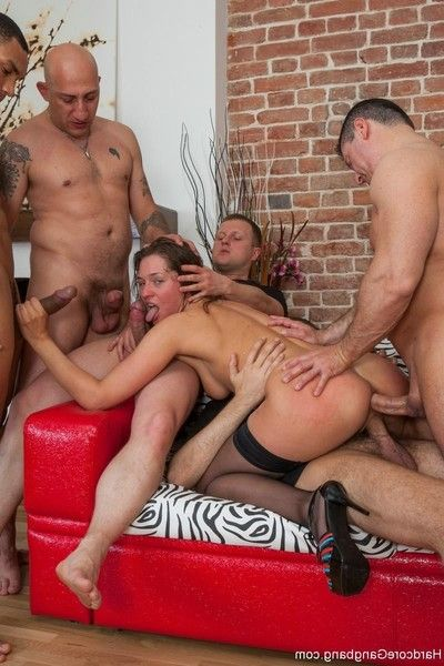 Sexy babe gets overpovered and drilled by group of her co-workers