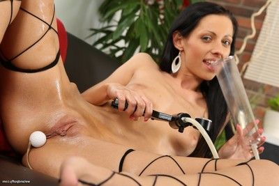Slutty lass toys her pussy and butt in movie