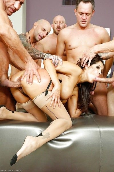 Latina Milf Francesca Le gangbanged by plethora of huge dicks