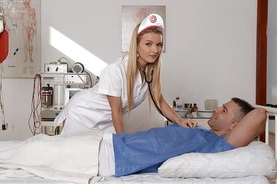 Blond nurse Jemma Valentine riding snake and taking sperm on face