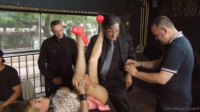 True doxy takes it all for the public: corporal punishment, dp, anal fisting!