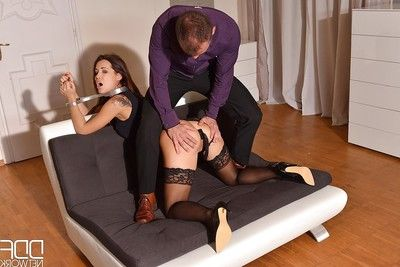 Submissive Euro courtesan Satin Bloom submits to master