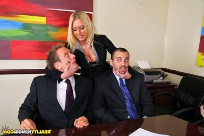 Double horny MILF are fond of hardcore butt fucking in the office