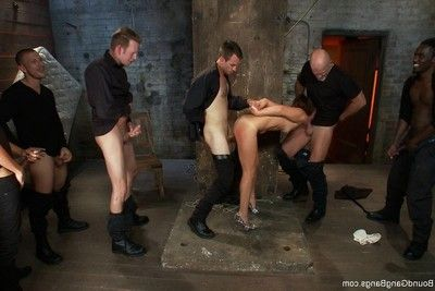 Extreme dear gains tied up, punished and owned by group of guys
