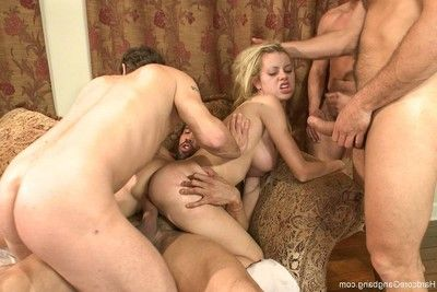 Cute adolescent acquires screwed in all the time holes by group of kinky chaps