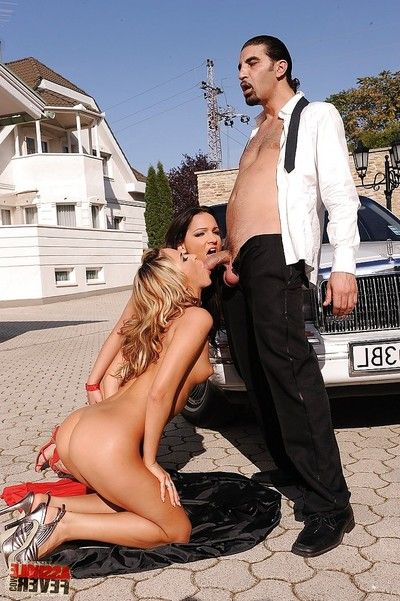 Lovable Sabrina Sweet and Aleska Diamond having groupsex outdoor