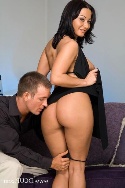Alluring big titted woman Sandra Romain strips with no her require brown clothing and gets anal fucked