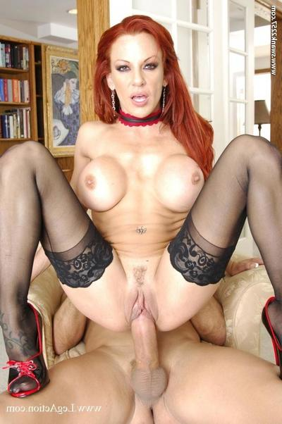 Big breasted redhead Shannon Kelly in ebon nylons takes rough pecker in her pussy then waste