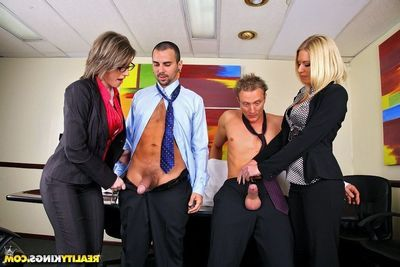 Bossy milfs Riley Evans and Velicity Von receive their asses drilled by major dongs in the office