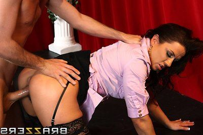 Evil MILF Inari Vachs puts on sleazy stockings and uses oral sexual act submission to get a hard anal pleasing