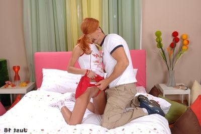 Redhead chick in sneaks Marina Kleymenova takes big 10-Pounder in her love-cage and arse after deepthroating