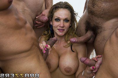 Breasty Nikki Sexx takes on a bunch of males and has brutal anal act of love and swallows a bunch of cock cream shots