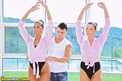 Sexy ballet dancers Kayla Carrera & Chanel Preston in anal two men plus one female