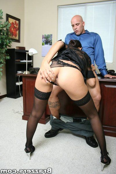 Shaved headed inked up stud fucks the shit not featured savoury stockinged brunette Shy Love.