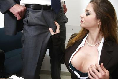 Brunette milf with big billibongs kissing and anal astonishingly in the office