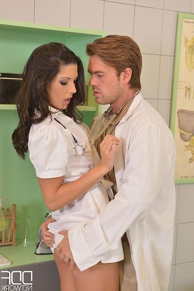 Brunette Euro nurse Alexa Tomas taking hardcore buttfucking from doctors