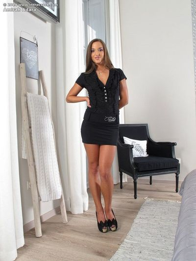 Dressed brunette Amirah Adara hikes short dress for anal fingering