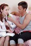 Sexually aroused coed in striped socks attains anally crashed and takes jism on her tongue