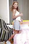 Slender golden-haired with compact love melons Stephanie stretching snatch and backdoor