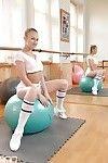 Euro darling Milane Blanc exposing underboobage in knee high socks