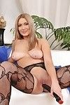 Boobsy MILF on high heels jerking off her muff and her backdoor