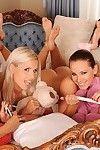 Girl-on-girl cuties dildoing bald wet cracks