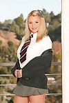 Wild blond girl Bree Olson undresses her school uniform and acquires gazoo penetrated by massive pecker