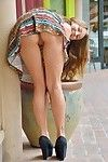 Adolescent hotty flashes no panty upskirt outdoors previous to expanding pink muff
