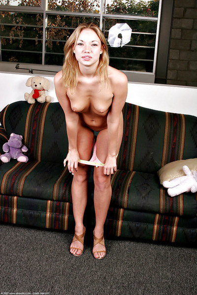 Eastern adolescent Maya baring miniature juvenile mounds and hairless solo babe wet crack