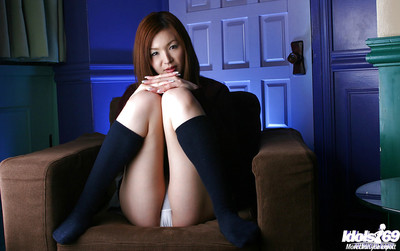 Marvelous oriental schoolgirl Mai Hanano striptease off her uniform