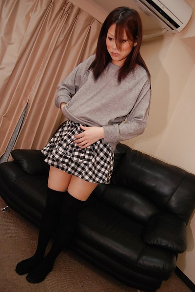 Sticky Japanese girl Mayu Matsukawa is playing with her favorite toys