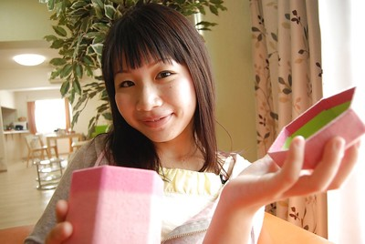 Smiley oriental youthful Miyuki Itou undressing and expposing her cum-hole in close up