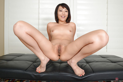 Infant Chinese instance Miko Dai pulling shorts aside to swell vagina and apple bottoms