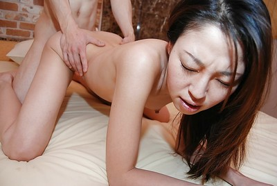 Sexually excited Chinese MILF with lively milk sacks Satomi Endou gives head and receives slammed