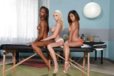 Japanese gal Kaylani Lei, Ebon sweetheart Madison Scott and Marie Luv have lesbo copulation