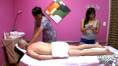 Angelina Chung and Mia Li do massage and cock stroking to a auspicious gentleman
