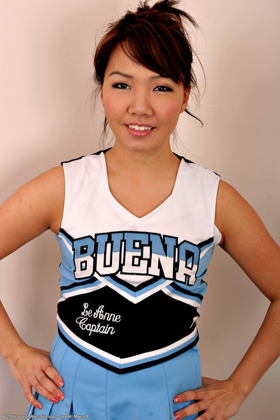 Teen Chinese solo angel sheds cheerleader uniform to stripped insignificant juvenile bumpers