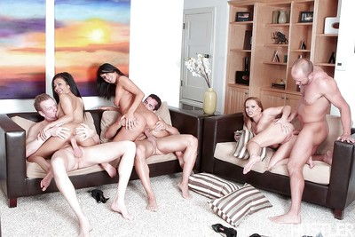 MILF pornstars voyage on dominant of huge dongs earlier than fascinating groupsex spunk fountain