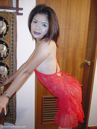 Splendid Chinese hotty in underware Faun removes her extreme red costume