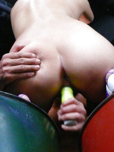 Titsy and collared Japanese bottom Misaki Aiba having wavy wet crack stimulated
