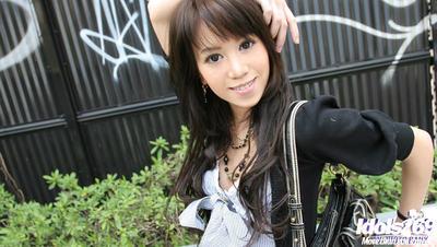 Graceful Japanese fresh fashionmonger striptease off her