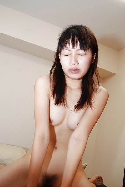 Oriental juvenile Miyuki Itou gives head and purchases her bushy cum-hole nailed hard