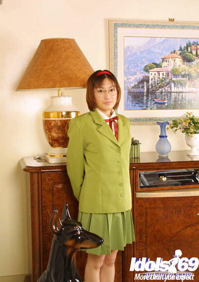Bawdy Chinese darling in glasses and school uniform revealing her love bubbles